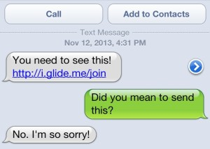Spammy looking text send from Glide Video app to a user's phone contacts.